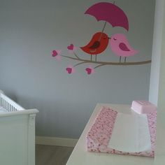 Mooie muurschildering, babykamer