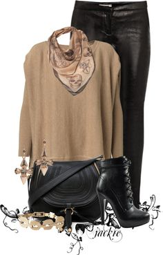 """""""Leather leggings and boots"""" by jackie22 on Polyvore #women #fashion"""