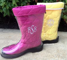 Monogrammed Rain Boot Liners with Clear Rain Boots #BootsByTwoality for #MarleyLilly