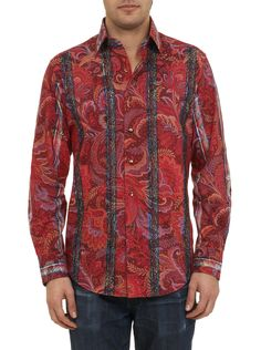 A truly exquisite piece, this limited edition sport shirt showcases an eye-catching all-over paisley print in rich shades of red. The front features two stripes overlayed with an intricate knit design that includes black beads and multi-color embroidery. The interior neckband and interior cuffs are lined in an abstract silk jacquard design. Finished with lasered shell buttons in a smoked bronze. Mens Printed Shirts, Robert Graham, Shades Of Red, Knitting Designs, Sports Shirts, Paisley Print, Casual Outfits, Mens Fashion, My Style