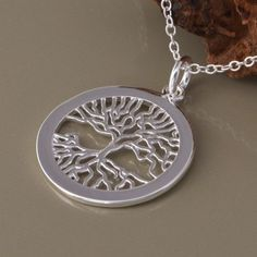 f4bf511e4c5b Women s Ladies  Fashion Jewelry Silver Plated Round Tree Pendant Chain  Necklace