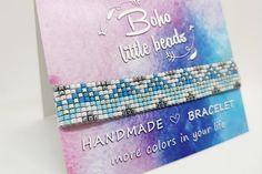 Ice blue & white loom kralen armband kerst armband geweven