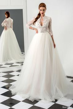 bien savvy #bridal 2015 rebecca three quarter sleeve ball gown #wedding dress lace bodice #weddingdress #weddings #sposa