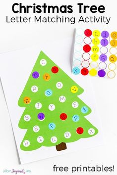 Christmas tree letter matching activity for fun and learning this Christmas! A hands-on way to teach letters to preschoolers this Christmas season. via @danielledb