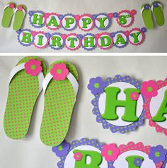 Summer Birthday Party, Shower, Flip Flop Birthday Party Supplies - Banner 2-D - CUSTOM Message (20 letters)