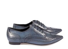 Ada, pointy full brogue in blue parma leather | Pedro Garcia Shoes Autumn-Winter 2014/2015