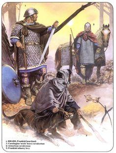 c. 800-850, Frankish heartland:  1:Carolingian 'scola' heavy cavalryman.  2:Armorican cavalryman. 3:Frankish infantry levy