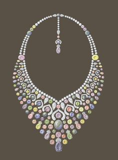 Sketch of Fabergé Le Collier Délices d'Été Necklace. #Fabergé #Necklace