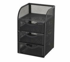 """OfficeMax Mesh Mini Hutch, Black OM96863 by OfficeMax. $12.29. This three drawer mini hutch allows you to store sticky notes and office supplies. Coordinates with other mesh desk accessories. Accessory Type: Desktop Organizer. Color: Black. Dimensions: 7-7/8"""" W x 4-3/4"""" D x 4-3/4"""" H. Collection: OfficeMax Mesh, Black. Finish / Material: Mesh. The rolled steel mesh construction provides durability. Efficient and functional organization solution"""