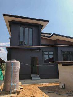 บ้าน 2 ชั้น สไตล์โมเดิร์น ขนาด 3 ห้องนอน โทนสีเท่าเข้ม ราคา 2.2 ล้าน - บ้านถูกดี Beautiful House Plans, Beautiful Homes, Modern House Philippines, 2 Storey House, Loft Interior Design, Loft Interiors, Shed, Outdoor Structures, Architecture
