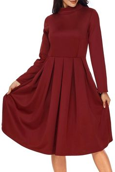 Available Sizes : S; Red Midi Dress, Long Sleeve Midi Dress, Skater Dress, Sleeved Dress, Casual Outfits, Fashion Outfits, Womens Fashion, Fashion Tips, Collar Designs
