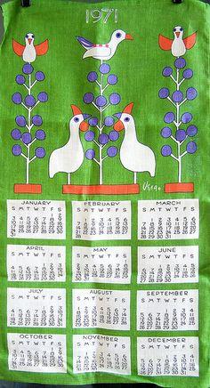 1971 Vera - Folk Art Birds Tea Towel Calendar