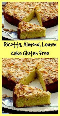 Ricotta, almond, lemon cake gluten free and super yummy! - Ricotta, almond, lemon cake gluten free and super yummy! Gluten Free Deserts, Gluten Free Sweets, Gluten Free Cakes, Foods With Gluten, Gluten Free Cooking, Gluten Free Recipes, Baking Recipes, Cake Recipes, Dessert Recipes