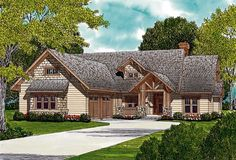 This craftsman 3 bedroom 1 story plan features a timber accents to give this home great curb appeal. Once inside, the foyer opens into a columned formal dining room to the left. A large master suite features walk-in closet, garden tub, and dual sinks. House Plans 3 Bedroom, Cottage House Plans, Country House Plans, Best House Plans, House Floor Plans, Monster House Plans, Craftsman Style House Plans, Craftsman Homes, House In The Woods