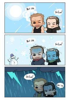 Thor and Loki The Avengers, Loki Marvel, Thor X Loki, Marvel Fan Art, Avengers Comics, Avengers Memes, Marvel Heroes, Funny Marvel Memes, Dc Memes