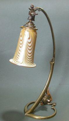 Art Nouveau glass desk lamp