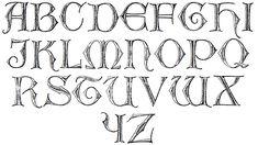 Celtic Letter Stencils Useful outline alphabet), Cool Letter Fonts, Hand Lettering Alphabet, Typography Letters, Celtic Tree Tattoos, Celtic Knot Tattoo, Celtic Fonts, Celtic Art, Irish Gaelic Tattoo, Irish Font