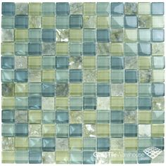 "Olive Glass & Stone Tile Blend 1"" x 1"" - - Amazon.com"