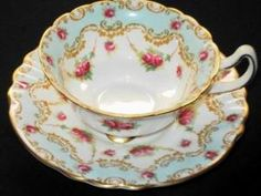 Royal Doulton Antique Pink Roses Blue Curvy TEA CUP AND Saucer by yvette