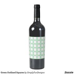 Green Outlined Squares Wine Label