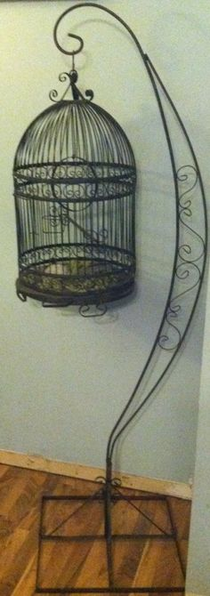 Vintage wrought iron bird cage birdcage with stand 6ft for Cage d oiseau decorative