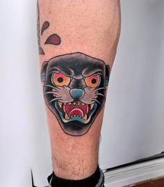 Panther Traditional Tattoo by Pinut Tattooing #panther #tattoo #traditional #pinut #tattooing