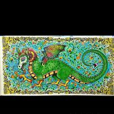 Dragão espetacular de Kanagusko Pires. #enchantedforest #florestaencantada #desenhoscolorir #johannabasford #dragon