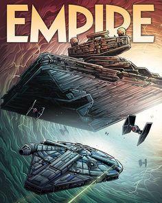 Empire Magazine June 2018 - Solo: A Star Wars Story cover by Dan Mumford Star Wars Books, Star Wars Art, Lego Star Wars, Star Trek, Disney Star Wars, Millennium Falcon, Geeks, Dan Mumford, Starwars