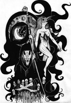 Death and the Maiden (2013) by Monica Valentine, via Behance #illustration #drawing #bw #death