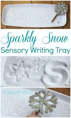 Sparkly snow sensory writing tray literacy activity