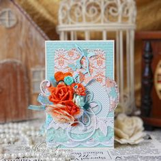 Coral and turquoise card #TeresaCollins #TellYourStory