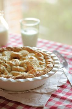 Fresh baked pie and milk