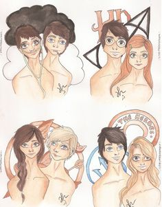 Couples of The Literature: The Fault in Our Stars - Hazel and Augustus Harry Potter - Harry and Ginny The Hunger Games - Katniss and Peeta Percy Jackson - Percy and Annabeth | Drawings | VIANADRAWINGS