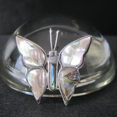 Vintage Silver Butterfly Pin with Abalone signed HFS Mexico by ThreadsandPins