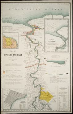 Dutch map from 'De (River of Suriname) Century, Netherlands, South America, Suriname) 7 Sins, Kirishima Eijirou, Demon Hunter, Narusasu, Girls Frontline, Slayer Anime, Old Pictures, Boku No Hero Academia, South America