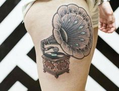 what a cool record player #musictattoo #thomann