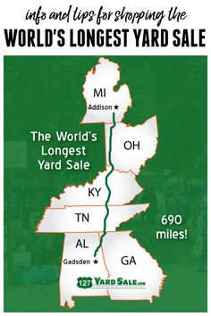 Info and Tips for Shopping the World's Longest Yard Sale, the Highway 127 Yard Sale Vacation Places, Places To Travel, Places To See, Vacation Ideas, 127 Yard Sale, Shopping Hacks, Travel Usa, Good To Know, Family Travel