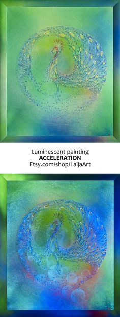 Acrylic Canvas Painting   Green Peacock Fluorescent Framed Original Canvas Wall Art   Home Decor   Acceleration   Size 42.9Wx50.8L inches • 2013, canvas   acrylic, daylight and UV light • Painting Ideas   Fluorescent Art   Fluorescent Paintings   Home Decor   Art   Art Ideas   Contemporary Art   Abstract Art   Fine Art • Available on Etsy •