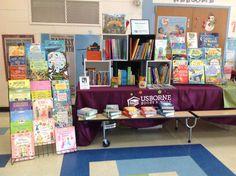 This is a one-table book fair in a school lunchroom. SueSellsUsborne.com