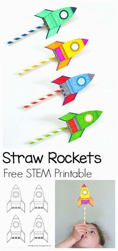 STEM Activity for Kids: How to Make Straw Rockets (w/ Free Rocket Template)- Fun for a science lesson, outdoor play activity, or unit on space! kinder STEM for Kids: Straw Rockets (with Free Rocket Template) - Buggy and Buddy Kid Science, Science Space, Science Lessons, Science Games For Kids, Stem Science, Science Experiments For Kids, Phonics Games For Kids, Art Games For Kids, Rockets For Kids