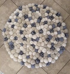 4ft round pom pom rug by PaperNursery on Etsy