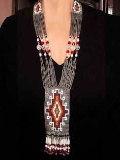 Huge Native American Indian beaded ceremonial Navajo necklace. This reminds me of the older Indian woman who speaks with Claire.