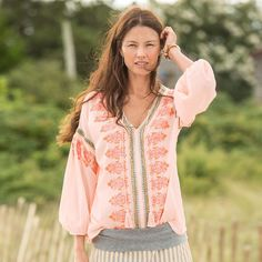 """SEASHELLS MELODY TOP--Embroidered and studded accents with twisted tassel ties add a sense of adventure to this easy-fitting top. Cotton. Hand wash. Imported. Exclusive. Sizes XS (2), S (4 to 6), M (8 to 10), L (12 to 14), XL (16). Approx. 26-1/4""""L."""