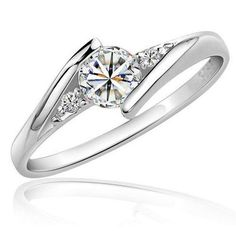 Women's Synthetic Diamond Ring wrap ring Solitaire Round Cut Halo Love Statement Ladies Elegant Zircon Cubic Zirconia Platinum Plated Ring Jewelry Silver For Wedding Party Birthday Engagement Daily Womens Wedding Bands, Wedding Rings For Women, Ring Ring, Colored Engagement Rings, Simulated Diamond Rings, Cheap Rings, Rings Online, Commitment Rings, Wedding Jewelry