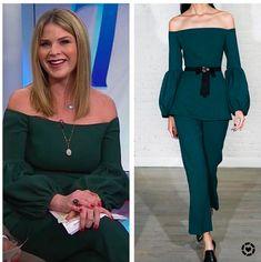 Jenna Bush Hager's Green Off The Shoulder Top Jenna Bush Hager, Hoda Kotb, Today Show, Green Tops, Savannah Chat, Off The Shoulder, Jumpsuit, Dresses, Women