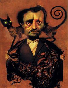 Edgar Allan Poe by artist [Dave McKean].  Scanned from Spectrum 8 (Underwood Books/2001).