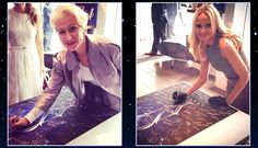 Tony nominees Helen Mirren and Kristin Chenoweth sign a #TonyAwards poster