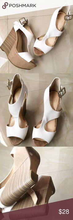 Beautiful white wedges White Jessica simpson heeled wedges. Size 7. In great condition. Shoes Wedges