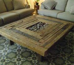 Reclaimed Coffee Table with Stone Accent by ModernElementsHome on Etsy https://www.etsy.com/listing/492874023/reclaimed-coffee-table-with-stone-accent