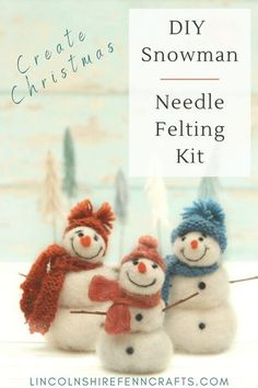 If these needle felted snowmen don't get you in the mood for a handmade Christmas then I fear nothing will. However, if they have tickled your DIY Christmas taste buds then pop over to Lincolnshire Fenn Crafts and pop a needle felting kit in your Christmas shopping basket. Inspiring creativity since 2014. Needle Felting Kits, Needle Felting Tutorials, Needle Felted Animals, Christmas Ornament Crafts, Holiday Crafts, Creative Christmas Gifts, Handmade Christmas, Diy Christmas